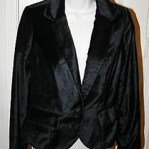 Cartonnier Anthropologie 148 Black Velvet Sheen Freisiar Jacket Blazer Sz Small Photo