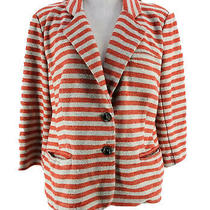 Cartonnier Anthropologie Coral Gray Striped 3/4 Sleeve Blazer Jacket Size Large Photo