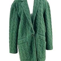 Cartonnier Anthropologie Green Extended Houndstooth Blazer Jacket Size Small Photo