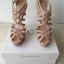 Casadei Nude Blush Python Sandals Pumps - Size 8 / 38 - Original Box Dust Bag Photo