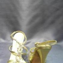 Casadei Womens Crystals Strappy Sandals Shoes 10 Soft Pearl Fancy Gold Designer Photo