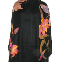 Cashmere Silk Hand Painted With Swarovski Stole Size 70 X 200cm  Photo
