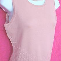 Caslon Blush Pink Fine Silk Sleeveless Sweater Shell Cabled Hem Sz Ps Petites Photo