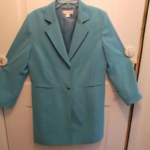 Casual Corner Aqua Crepe Long Jacket Sz 14 Nwot Gorgeous  Photo