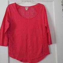 Casual Pullover Top- Size M Hot Coral Lace Accented 3/4 Sleeve Photo