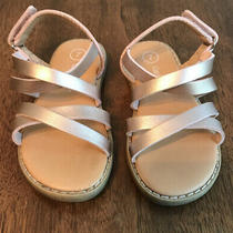 Cat and Jack Rose Gold Baby Toddler Girls Ankle Strap Sandals Size 7 Euc Photo