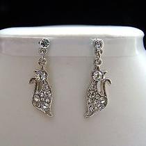 Cat Dangle Earrings Clear Swarovski Crystal E1165 Photo
