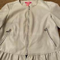 Catherine Malandrino Jacket Size 4 Blush Color With Ruffle Detail Silver Zippers Photo