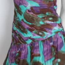 Catherine Malandrino Purple Aqua Sunset Ruffled Strapless Cocktail Dress New  6 Photo