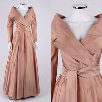 Catherine Regehr Blush Pink Silk Taffeta Changeant Surplice Long Sleeve Dress M Photo