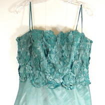 Catherine Regehr Iridescent Aqua Taffeta Gown Dress Size 8 W/ Photo