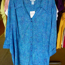 Catherines liz&me 5xwp 100% Cot. Woven Blouse Blue & Aqua Floral  34/36wp Photo