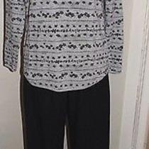 Cathy Daniels Black Sueded Pants Sz L Classic Elements  Henley Floral Shirt Sz M Photo