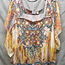 Cato Smocked Stained Glass Tiffany Inspired Flutter Chiffon Trim Knit Top 22/24 Photo