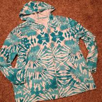 Cato Women Tie Dye Teal Hooded Sweatshirt Size 22/24 Photo