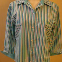 Caual Corner Ladies Aqua Blue Stripe Shirt Size M Photo