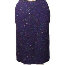 Celine-1980s Purple Wool Fleck Skirt Size-10 Photo