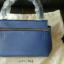 Celine Authentic Small Edge Drummed Calfskin Leather Bag in Indigo Photo