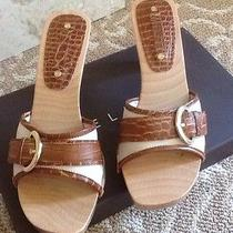 Celine Beige and Tan Mules Wood Heel and Platform Size 38.5 Photo