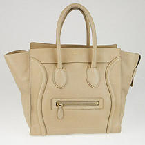 Celine Beige Drummed Calfskin Leather Mini Luggage Tote Bag Photo