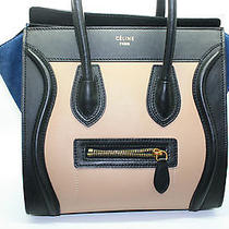 Celine Beige Navy Blue Suede Black Smooth Leather Tricolor Micro Luggage Tote  Photo