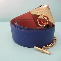 Celine Belt Cobalt Blue Drummed Leather Gold Toggle Buckle Match Your Bag Photo