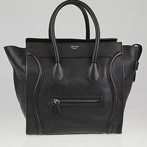 Celine Black Drummed Leather Mini Luggage Tote Bag Photo