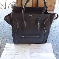 Celine Black Mini Luggage Leather Bag Drummed Pebbled Handbag 100% Authentic Photo