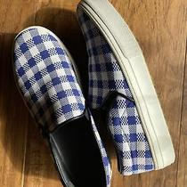 Celine Blue Gingham Check Slip on Sneakers Size 38 - Us Size 8 Photo