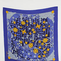 Celine Blue Gold Print Print Silk Scarf  Photo