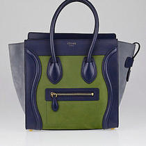 Celine Blue/green Tricolor Suede/leather Micro Luggage Tote Bag Photo