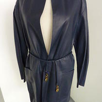 Celine Blue Leather Coat  Photo
