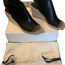 Celine Bootie 80 Open Toe Sandals Sz 41 Black Leather Espadrilles Wedge Heel Photo