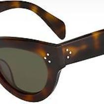 Celine Brown Havana Tortoise Lady Cat-Eye Sunglasses Cl 41030 E881e Green Lens Photo