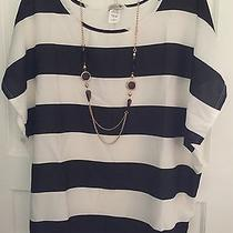 Celine by Champion Women's Striped Blouse W/necklace Sz 1x Photo