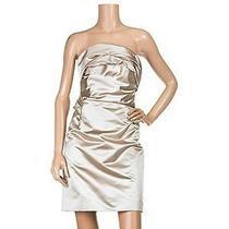 Celine Champagne Silk Satin Strapless Dress 4/6 Photo