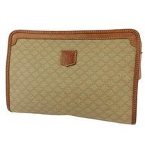 Celine Clutch Bag Macadam Beige Pvc  Leather Auth T19132 Photo