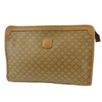 Celine Clutch Bag Macadam Beige Pvc  Leather Auth T19857 Photo
