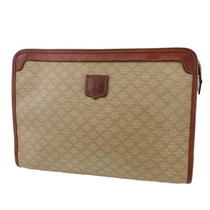 Celine Clutch Bag Macadam Beige Pvc  Leather Auth Used T19921 Photo