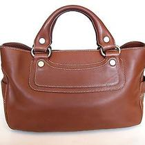 Celine Cognac Satchel With Silver Celine Hardware Photo