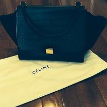 Celine Collectable Trapeze Black Embossed Handbag  Photo