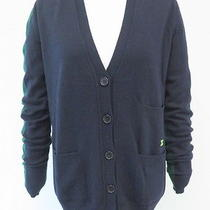 Celine Colorblock v-Neck Cardigan Navy & Forest Green Size Small Gently Worn Photo
