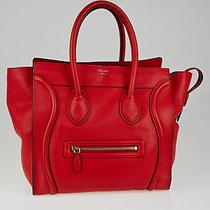 Celine Coquelicot Drummed Leather Mini Luggage Tote Bag Photo