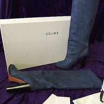Celine Designer Women's Denim Blue Knee High Riding Boots High End Size 39  9 Us Photo
