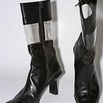 Celine Dion Black Leather Boots Sz 37 Photo