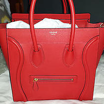 Celine Drummed Leather Mini Luggage Coquelicot Red Photo