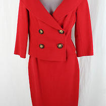 Celine Finition Main Women's Red Wool Two Piece Skirt Suit Size 36 4 Photo