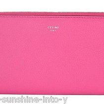 Celine Fluo Pink Drummed Leather Large Zip Around Wallet  Photo