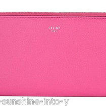Celine Fluo Pink Drummed Leather Large Zip Around Wallet  Photo
