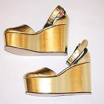 Celine Gold Metallic Platform Wedges Photo